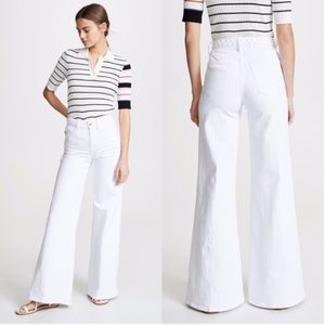 Frame Le Palazzo White Braided Wide Leg Flare Jean